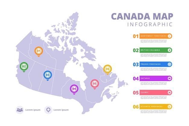 Handgetekende canada kaart infographic