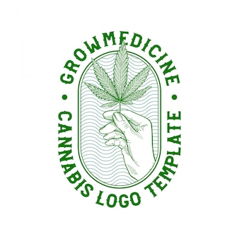 Handgetekende cannabis badge