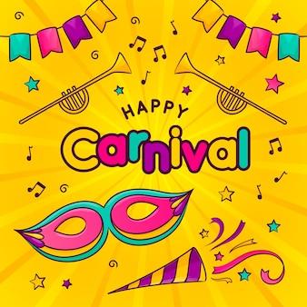 Handgetekende carnaval dagviering