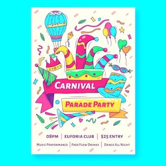 Handgetekende carnaval feest flyer