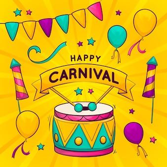 Handgetekende carnaval feestthema