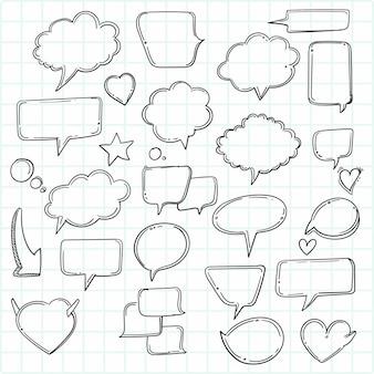 Handgetekende cartoon denkende vormen instellen schets