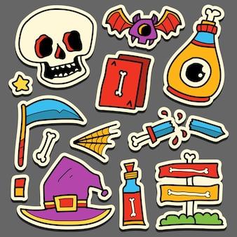 Handgetekende cartoon doodle halloween sticker ontwerp
