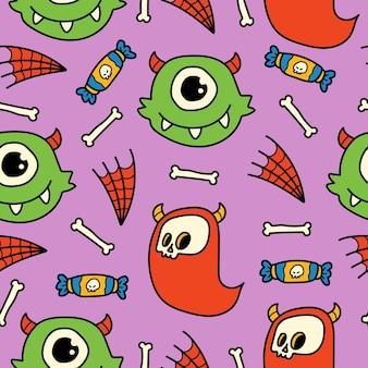 Handgetekende cartoon doodle monster patroon ontwerp