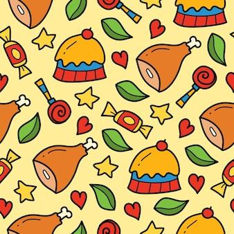 Handgetekende cartoon doodle voedsel naadloos patroonontwerp