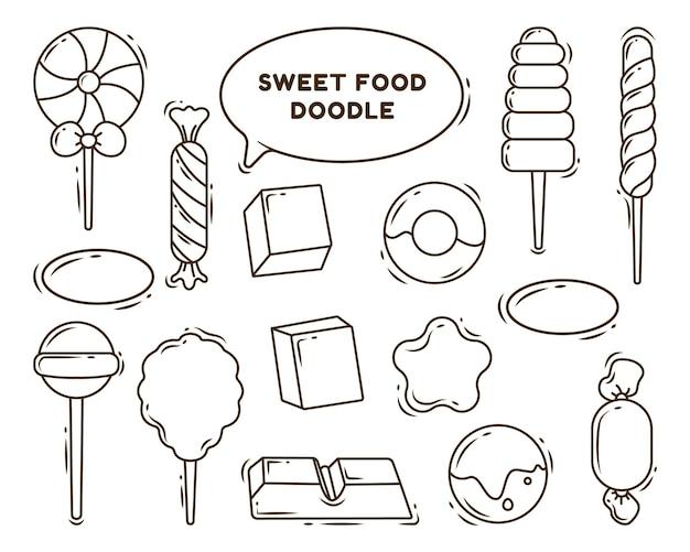 Handgetekende cartoon doodle zoet voedsel bundel kleuren