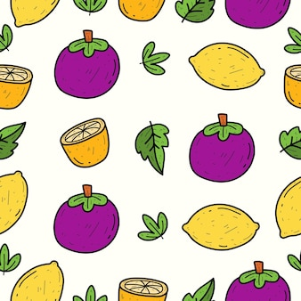 Handgetekende cartoon fruit doodle kawaii naadloos patroonontwerp