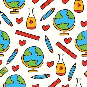 Handgetekende cartoon terug naar school doodle patroonontwerp