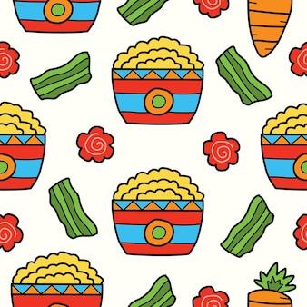 Handgetekende cartoon voedsel doodle kawaii patroon
