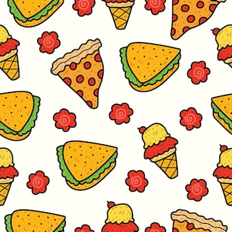 Handgetekende cartoon voedsel doodle patroon ontwerp