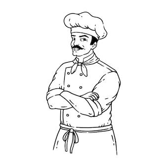 Handgetekende chef-kok in vintage stijl lijn kunst illustratie geïsoleerd op wit