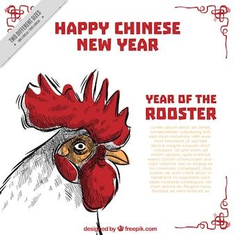 Handgetekende chinese nieuwe jaar achtergrond
