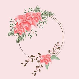 Handgetekende christmas wenskaart met kerst bloem en bladeren floral frame vector