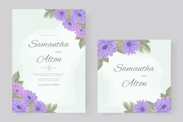 Handgetekende chrysant bloem bruiloft uitnodiging sjabloon