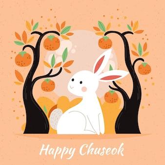 Handgetekende chuseok festival afbeelding ontwerp