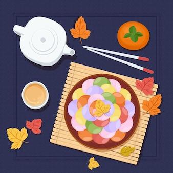 Handgetekende chuseok festivalstijl