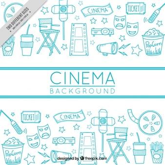 Handgetekende cinema achtergrond met verschillende voorwerpen