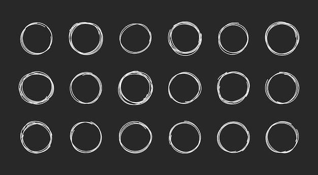 Handgetekende cirkel cirkels voor ontwerpelementen berichten notities labels borstels inkt cirkels