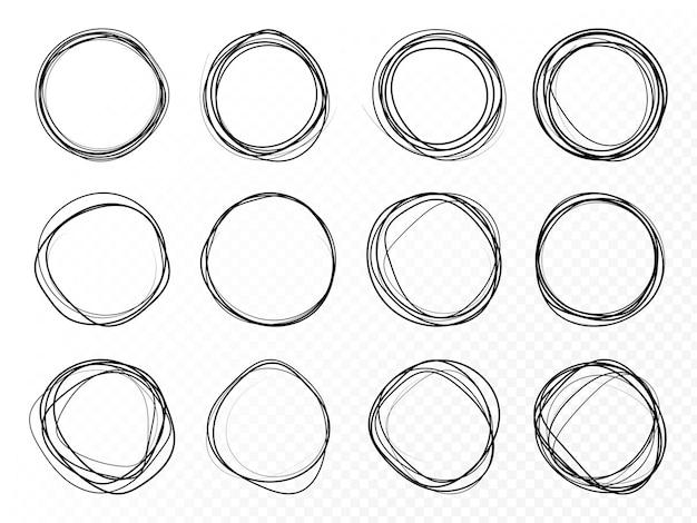 Handgetekende cirkel lijn schets set ronde vector velden van schrijven cirkels voor berichten geschilderd