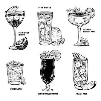 Handgetekende cocktailscollectie graveren