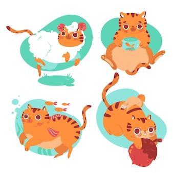 Handgetekende collectie kattenhuisdierenstickers