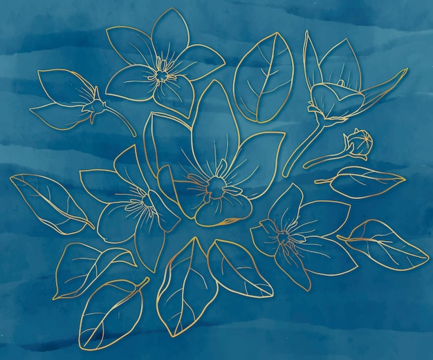 Handgetekende collectie van bladeren en bloemen in goud