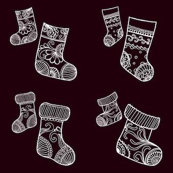 Handgetekende collectie van kerst sokken