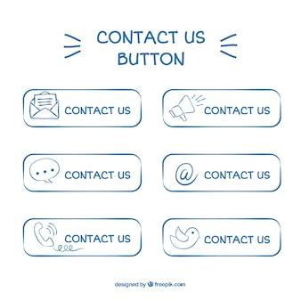 Handgetekende contact knop pak