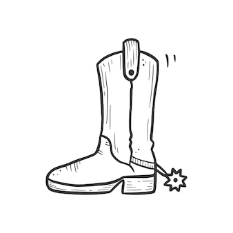 Handgetekende cowboylaars met spoorelement. komische doodle schets stijl. boot voor cowboy, western concept icoon. vector illustratie.