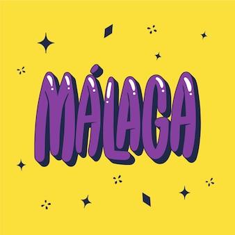 Handgetekende creatieve belettering van málaga