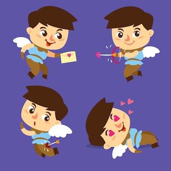 Handgetekende cupid karakters concept