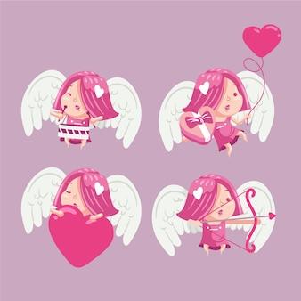 Handgetekende cupid-tekenverzameling geïllustreerd
