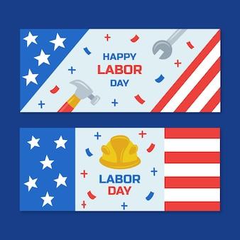 Handgetekende dag van de arbeid horizontale banners set
