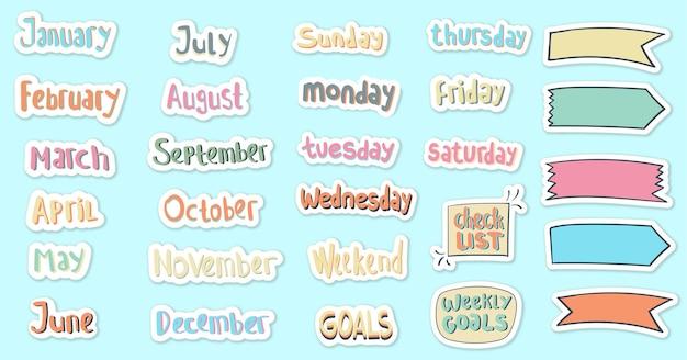 Handgetekende dagelijkse en maandelijkse stickers planner