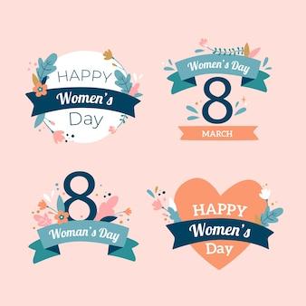 Handgetekende dames dag badge collectie