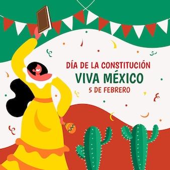 Handgetekende dia de la constitucion illustratie