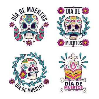Handgetekende dia de muertos badges collectie
