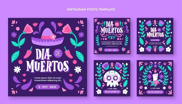 Handgetekende dia de muertos instagram posts collectie