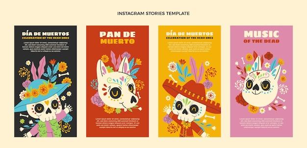 Handgetekende dia de muertos instagram verhalencollectie Gratis Vector