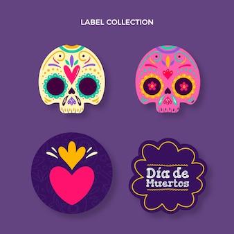 Handgetekende dia de muertos labels collectie