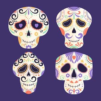 Handgetekende dia de muertos schedels collectie