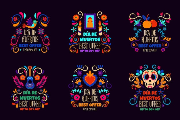 Handgetekende dia de muertos verkooplabels collectie Gratis Vector