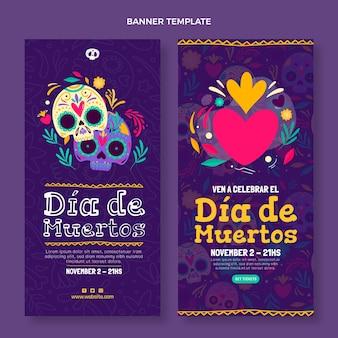 Handgetekende dia de muertos verticale banners set