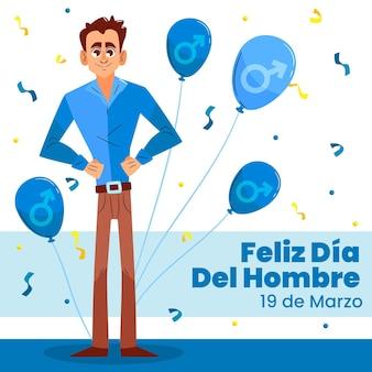 Handgetekende dia del hombre illustratie