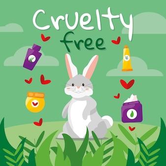 Handgetekende dierproefvrije en veganistische illustratie
