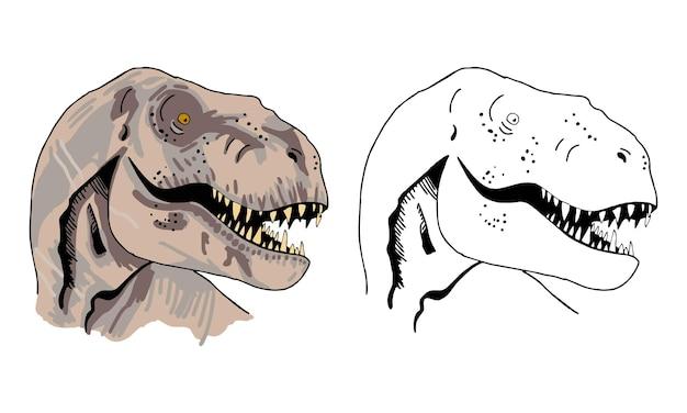 Handgetekende dinosaurus kleurplaat voor kinderen