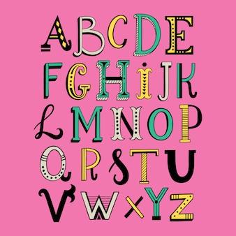 Handgetekende doodle belettering alfabet
