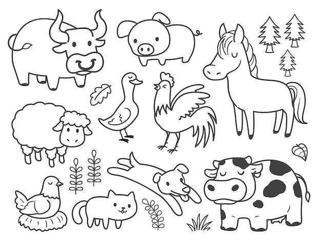 Handgetekende doodle dieren op de boerderij