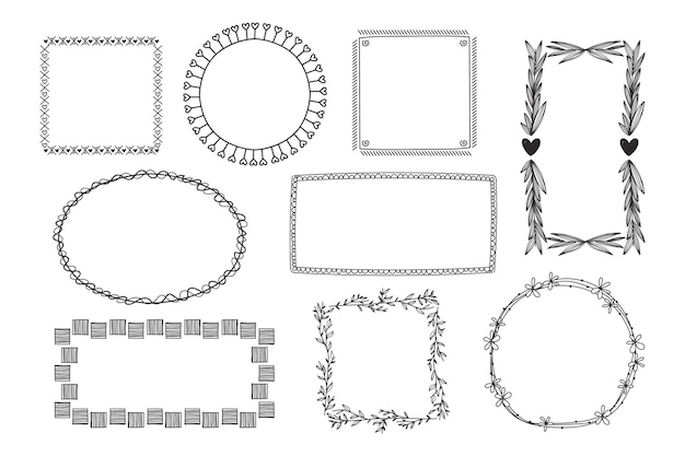 Handgetekende doodle frames-collectie graveren
