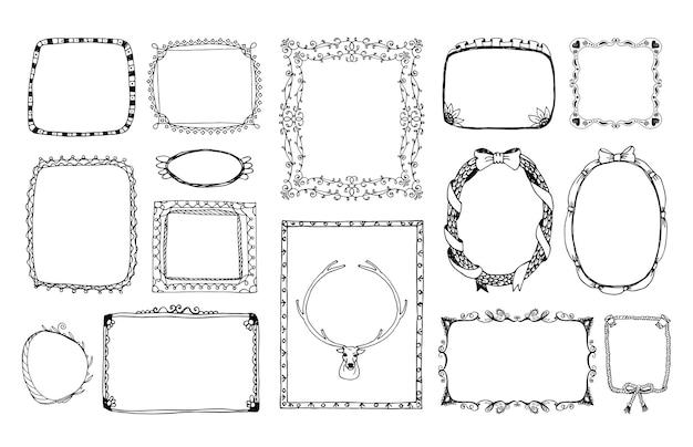 Handgetekende doodle monochroom frame voor het portret, album ornament op valentijnsdag.
